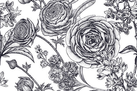 buttercup  decorative: Spring flowers seamless floral pattern. Hand drawing garden plants buttercup, lilac, gillyflower black on white background. Vector vintage illustration. For wrapping, fabric, fashion, paper, textile.