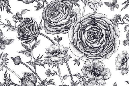 buttercup  decorative: Spring flowers seamless floral pattern. Hand drawing garden plants buttercup, anemones, butterfly black on white background. Vector vintage illustration. For wrapping, fabric, fashion, paper, textile.