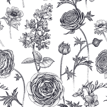 Spring flowers seamless floral pattern. Hand drawing garden plants buttercup, lilac, freesia, anemone. Black and white. Vector vintage illustration. For wrapping, fabric, fashion, paper. Ilustração