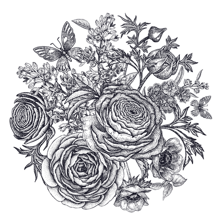 buttercups: Bouquet of spring flowers. Buttercups, anemones, lilac, butterflies isolated on white background. Vintage engraving. Vector illustration of hand drawing nature objects. Black and white. Illustration