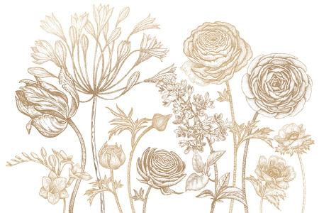 Blumenstrauß der Frühlingsblumen blüht. Handzeichnung Tulpe, afrikanische Lilie, Ranunculus, Anemonen, Flieder, Freesien drucken Goldfolie auf weißem Hintergrund. Vektor-Illustration Kunst Blumen-Design. Weinlese-Gravur