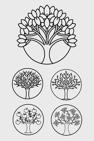 Trees icons. Vector art illustration. Decoration for corporate identity, logo, gift products, packaging eco bio products. Template with herbal, natural, floral elements. Linear style. Black and white.