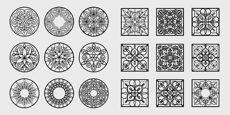 Gran conjunto de patrones abstractos en blanco y negro para monogramas, logotipos, símbolos, identidad corporativa, envoltura de regalos. Vector ilustración plantilla arte. Estilo lineal. Iconos geométricos y motivos florales naturales.