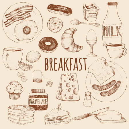 Breakfast. Vector doodle set. Scrambled eggs, bacon, croissant, donut, yogurt, milk, bread, sausages, cheese, butter, sandwich, pancakes, muffins, jam, tea, coffee, eclairs, lemon, salt. Hand drawing.