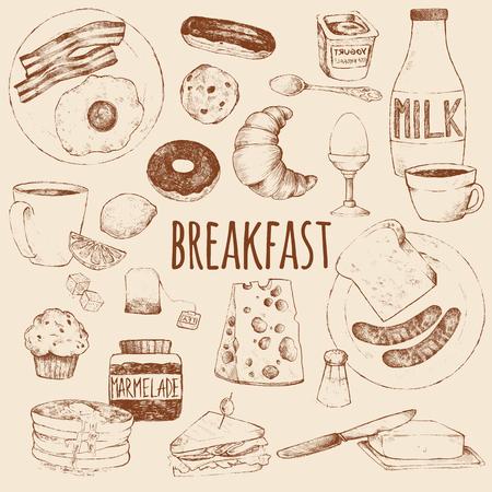 Breakfast. Vector doodle set. Scrambled eggs, bacon, croissant, donut, yogurt, milk, bread, sausages, cheese, butter, sandwich, pancakes, muffins, jam, tea, coffee, eclairs, lemon, salt. Hand drawing.