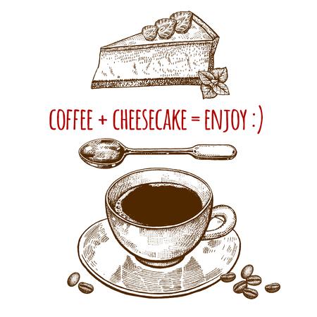 Drinken en snoep. Een kop van koffie, dessertlepel, kaastaart op witte achtergrond wordt geïsoleerd die. Vintage gravure stijl. Vector illustratie kunst. Voor restaurants menu's, cafés, recepten, bakkerij, zoetwaren