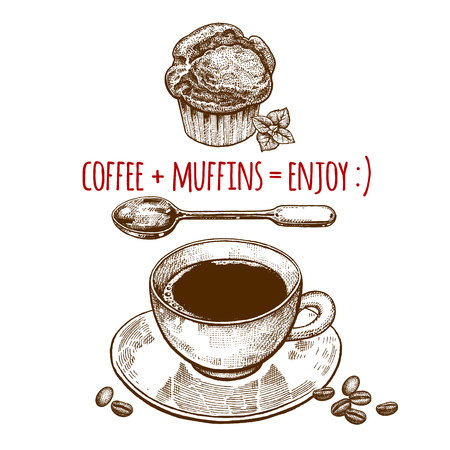 bun: Drink and sweets. A cup of coffee, dessert spoon and muffin isolated on white background. Vintage engraving style. Vector illustration art. For restaurants menu, cafes, recipes, bakery, confectionery Illustration
