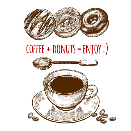 Drink and sweets. A cup of coffee, dessert spoon and donats isolated on white background. Vintage engraving style. Vector illustration art. For restaurants menu, cafes, recipes, bakery, confectionery Illustration