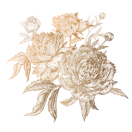 Flower peony gold foil print on white background. Vector illustration vintage. Decoration dress, phone cases, wedding design, decor of interior, covers, post cards, business cards, corporate identity.