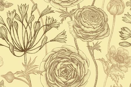 Frühling blüht nahtloses Blumenmuster. Handzeichnung Garten Pflanzen Butterblume; Anemonen; Afrikanische Lilie; Schmetterlingspastellfarben. Vektorweinleseillustration. Zum Verpacken; Stoff; Mode; Papier. Standard-Bild - 75107325