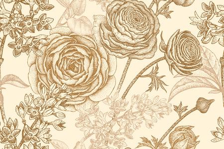 Frühling blüht nahtloses Blumenmuster. Handzeichnung Garten Pflanzen Butterblume, lila Pastellfarben. Vektorweinleseillustration. Für Verpackung, Stoff, Mode, Papier, Verpackungen, Textilien. Standard-Bild - 75107326