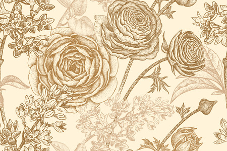 Spring flowers seamless floral pattern. Hand drawing garden plants buttercup, lilac pastel colors. Vector vintage illustration. For wrapping, fabric, fashion, paper, packaging, textile. Illustration