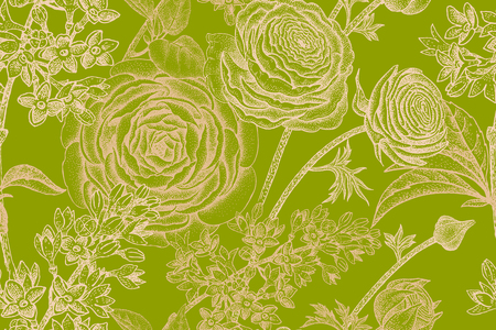 Spring flowers seamless floral pattern. Hand drawing garden plants buttercup, lilac gold on green background. Vector vintage illustration. For wrapping, fabric, fashion, paper, packaging, textile.