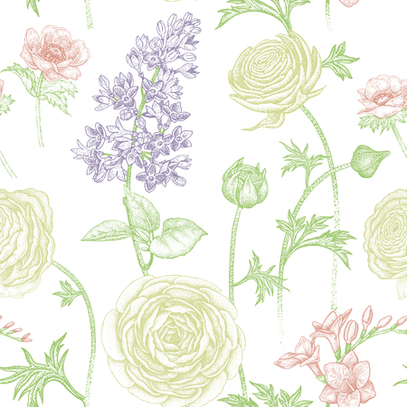 Frühling blüht nahtloses Blumenmuster. Handzeichnung Garten Pflanzen Butterblume, Flieder, Freesie, Anemone. Farbe und weiß. Vektorweinleseillustration. Für die Verpackung, Stoff, Mode, Papier. Standard-Bild - 75107328