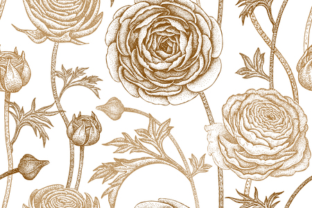 Spring flowers seamless floral pattern. Hand drawing garden plants buttercup print gold foil on white background. Vector vintage illustration. For wrapping, fabric, fashion, paper, packaging, clothes.