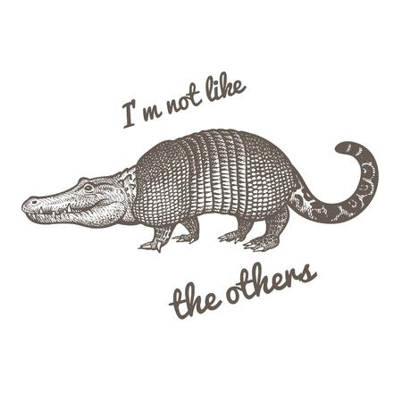 """Animal fantastique inhabituel et phrase """"Je ne suis pas comme les autres""""."""