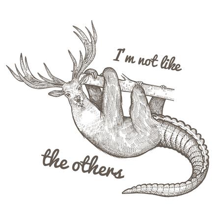 """Animal fantastique inhabituel et phrase """"Je ne suis pas comme les autres"""". La créature drôle inclut le torse de la paresse, la tête du cerf, la queue du crocodile. Illustration vectorielle Noir et blanc. Gravure vintage."""