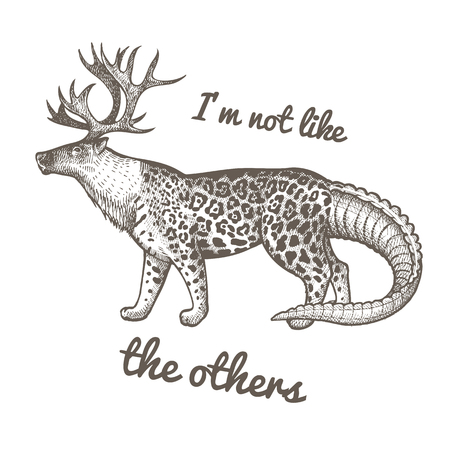 Unusual fantastic animal and phrase Im not like the others. Funny creature includes head of reindeer, torso of jaguar, tail of crocodile. Vector illustration. Black and white. Vintage engraving.