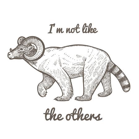 """Ungewöhnliches fantastisches Tier und Phrase """"ich bin nicht wie die anderen"""". Lustige Kreatur umfasst Torso des Eisbären, Kopf der Steppe Widder, Schwanz des Waschbären. Vektor-Illustration. Schwarz und weiß. Vintage Gravur Vektorgrafik"""