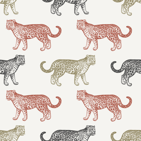 Summer seamless pattern with animals South America. Illustration