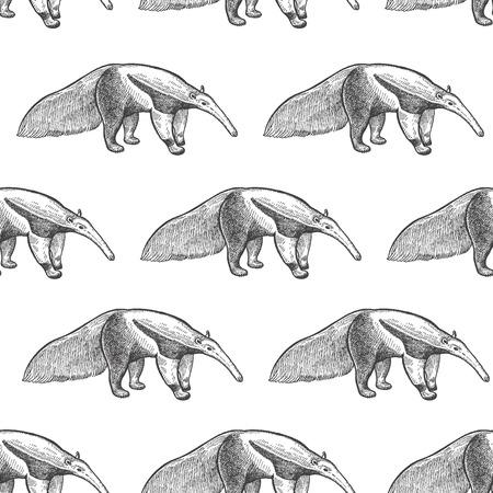Riesiger Ameisenbär. Nahtloses Muster mit Tieren Südamerika. Handzeichnung von Wildtieren. Vektorillustrationskunst. Schwarz und weiß. Alter Stich. Jahrgang. Design für Stoffe, Papier, Textilien, Mode.