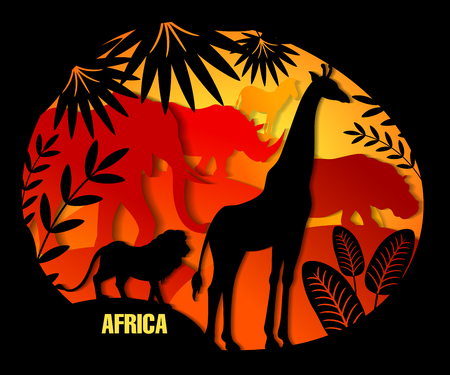 Vector illustration of paper art. African animals elephant, giraffe, lion, rhino, hippo, zebra. Leaf of palm, exotic plants. Black and color. Template for design of text, cover, tutorial for children
