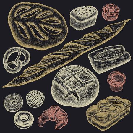 빵집 집합입니다. 흰색과 검은 색, brioche, ciabatta, 크로 상, 프랑스 버 게 트 빵, 롤빵, 꽈 배기, 도넛 형, 머핀, 덩어리 색깔 블랙 보드에 분필. 벡터 음식