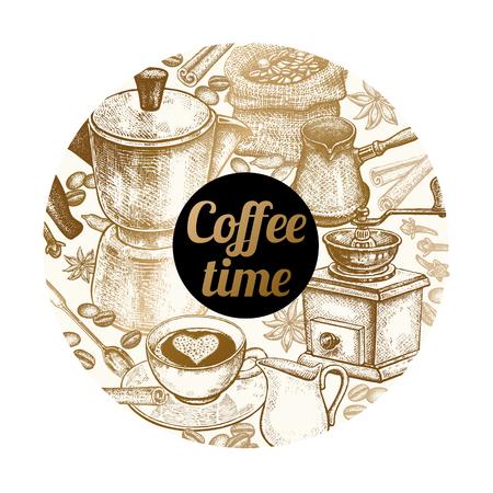 コーヒーの準備と碑文「コーヒー タイム」の項目。ベクトルの図。カバー、ポスター、広告、看板のデザインのポスター。白い背景の金箔のスタン