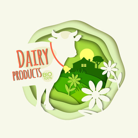 Rural landscape, cow, daisies, farm and inscription Dairy products Illustration for decoration packaging of farm products, shop, market, advertising. White and green.  Modern Trend paper Art. Vector
