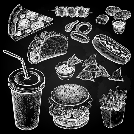 Food and drink. Burger, fries, pizza, nuggets, kebabs, garlic, ketchup, hot dog isolated white chalk on black board. Designed for fast food restaurants and cafes. Vector illustration art set.