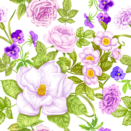 Vintage floral background. Seamless pattern with garden flowers. Magnolia, roses, pansies, peony. Vector. Victorian style. Ilustracja