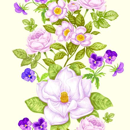 Sfondo floreale vintage Modello senza cuciture con i fiori del giardino. Magnolia, rose, viole del pensiero, peonia. Vettore. Stile vittoriano Archivio Fotografico - 81815729