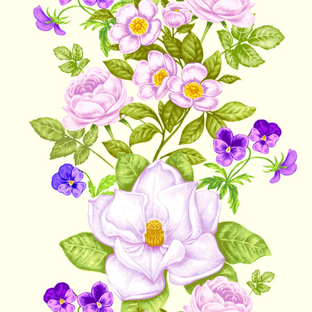 Vintage floral background. Seamless pattern with garden flowers. Magnolia, roses, pansies, peony. Vector. Victorian style. Иллюстрация