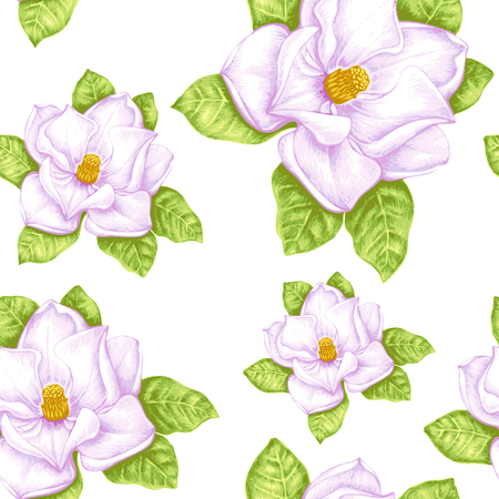 Vintage floral background. Seamless pattern with garden flowers. Magnolia. Vector. Victorian style.