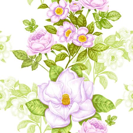 Vintage floral background. Seamless pattern con fiori di giardino. Magnolia, rose, pansie, peonia. Vettore. Stile vittoriano. Archivio Fotografico - 81815741