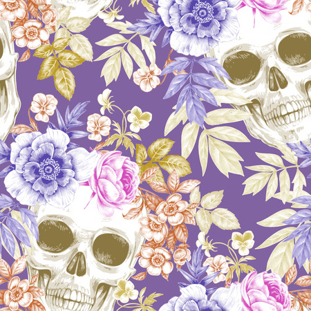 Vector seamless background. Wreaths of garden flowers and skulls. Roses, peonies. Design for fabrics, textiles, paper, wallpaper, web. Retro. Vintage style. Floral ornament.