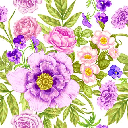 Modello vettoriale su sfondo bianco. Struttura naturale senza giunte con fiori di giardino fiorito peonies, rose, pansies, garofani. Disegnato a mano. Annata. Stile vittoriano. Archivio Fotografico - 81816284