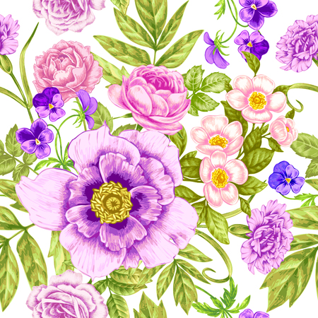 Vector pattern on white background. Seamless natural texture with blossom garden flowers peonies, roses, pansies, carnations. Hand drawn. Vintage. Victorian style. Иллюстрация