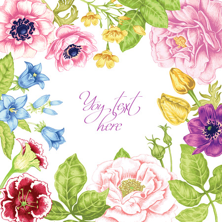 Card with the image of flowers in the Victorian style on the white background and place for your text. Flowers roses, peonies, tulips, anemones, bluebells. Vector vintage illustration.