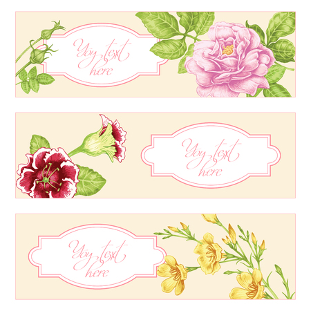 Set of cards with the image of flowers in the Victorian style on the white background and place for your text. Roses and spring flowers. Vector Vintage illustration. Illusztráció