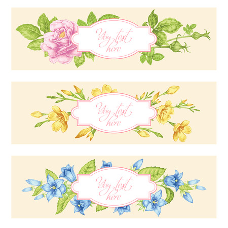 Set of cards with the image of flowers in the Victorian style on the white background and place for your text. Roses and spring flowers. Vector Vintage illustration. Illustration