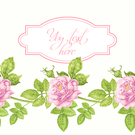 Card with the image of flowers in the Victorian style on the white background and place for your text. Flowers roses, peonies. Vector illustration.