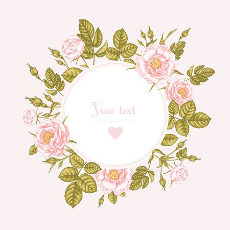 白い背景と場所のビクトリア朝様式の花のイメージとテキストのカード。花バラ、シャクヤク。ベクトルの図。