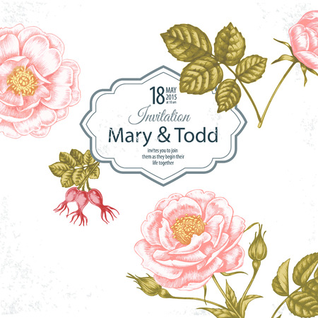 Card with the image of flowers in the Victorian style on the white background and place for your text. Flowers roses. Vector illustration.