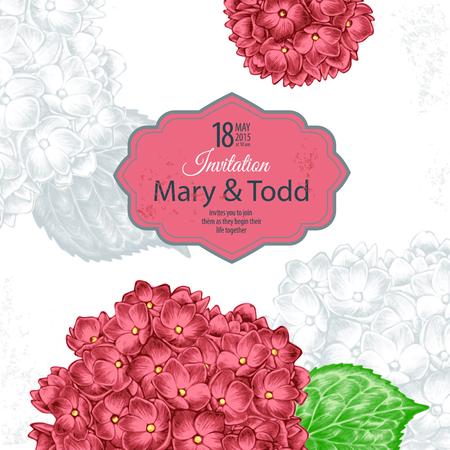 白い背景と場所のビクトリア朝様式の花のイメージとテキストのカード。花アジサイ。ベクトルの図。