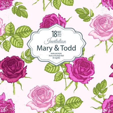 白い背景と場所のビクトリア朝様式の花のイメージとテキストのカード。花のバラ。ベクトルの図。  イラスト・ベクター素材