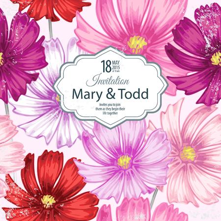 白い背景と場所のビクトリア朝様式の花のイメージとテキストのカード。花カモミール。ベクトルの図。