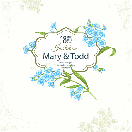 Card with the image of flowers in the Victorian style on the white background and place for your text. Flowers forget-me-not. Vector illustration.