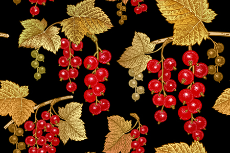 Seamless botanical pattern with branches and berries of red currant on black background. Vintage. Victorian style. Vector illustration. Template for kitchen design, packaging for food, paper, textiles