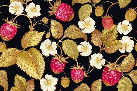 Seamless botanical pattern with flowers and berries of strawberry on black background. Vintage. Victorian style. Vector illustration. Template for kitchen design, packaging for food, paper, textiles. Stock Illustratie